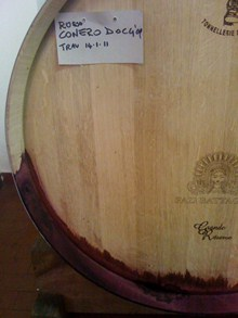 Red wine in barrel