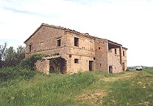 Characteristic farmhouse in quiet position. Stunning panorama over the large barley and wheat groves of Macerata countryside.
